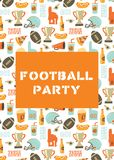 American Football party invitation card. Helmet, trophy, beer, foam finger, fast food, go and touch down lettering background. stock illustration