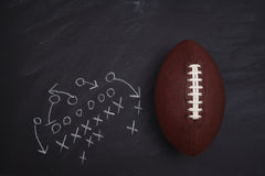 American Football and Play Diagram. On a chalkboard. Top view with copy space stock photos