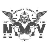 American football play hard prints for shirt,emblems ,logo,tattoo and labels. Stock Images