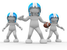 American football player. 3d people - human character, person with helmet and ball. American football player. Game. 3d render Stock Image