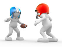 American football player. 3d people - human character, person with helmet and ball. American football player. 3d render Stock Image