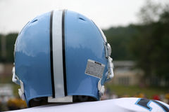 American football player. Rear view of helmet of American footballer Royalty Free Stock Photo