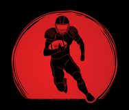 American football player action, Sportsman. American football player action illustration graphic vector Stock Images
