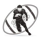 American football player action, Sportsman. American football player action illustration graphic vector Stock Photos