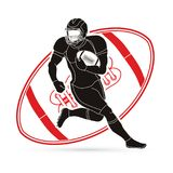 American football player action, Sportsman. American football player action illustration graphic vector Stock Image