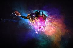 American football player in action. Mixed media stock image