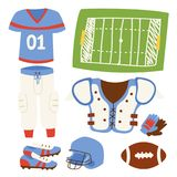 American football player action sport athlete uniform sporty accessory success playing tools vector illustration Stock Photography
