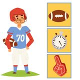American football player action sport athlete uniform sporty people success playing tools vector illustration. American football player action sport athlete Royalty Free Stock Photos