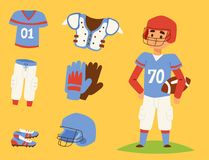 American football player action sport athlete uniform sporty people success playing tools vector illustration. American football player action sport athlete Stock Photos
