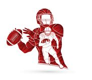 American football player. Action, sport concept graphic vector Royalty Free Stock Photos