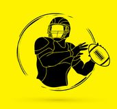 American football player action, Sportsman. American football player action illustration graphic vector Stock Photography