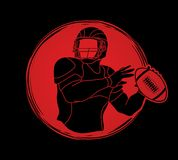 American football player action, Sportsman. American football player action illustration graphic vector Royalty Free Stock Photo