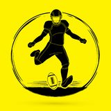 American football player action, Sportsman. American football player action illustration graphic vector Royalty Free Stock Image