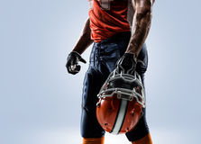 American football player in action white isolated stock photo
