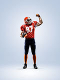 American football player in action white isolated Stock Image