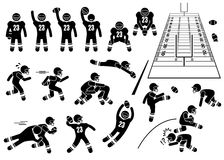 American Football Player Actions Poses Cliparts. A set of human pictogram representing the sport of American Football player actions and poses. This also include Royalty Free Stock Photo