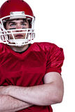 American football player with arms crossed Stock Photos