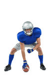 American football player in attack stance Royalty Free Stock Photos