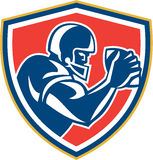 American Football Player Ball Side Shield Royalty Free Stock Image