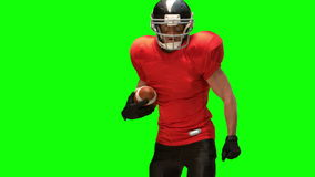 American football player with ball stock footage