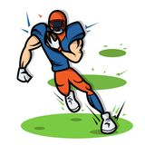 American Football Player Cartoon With Big Muscle Stock Image