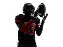 American football player catching ball silhouette stock image