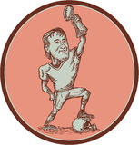 American Football Player Champion Trophy Drawing Royalty Free Stock Photo