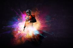 American football player in action. Mixed media stock images