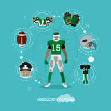 American football player with equipment  Royalty Free Stock Photos