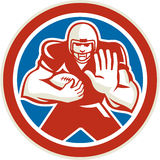American Football Player Fend Off Circle Retro Stock Images