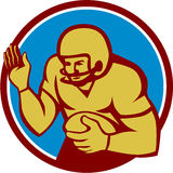 American Football Player Fend Off Circle Retro Royalty Free Stock Photography