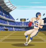 American Football player on football feild. Illustration vector illustration