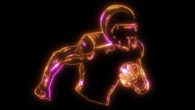 American football player holding ball silhouette. Team sport