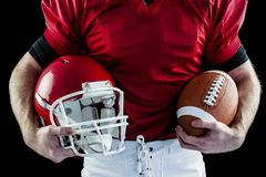 American football player holding helmet Royalty Free Stock Photos