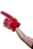 American football player holding supporter foam hand Royalty Free Stock Images