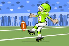 American football player kicking the ball Stock Images