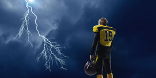 American football player . Mixed media stock image