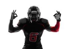 American football player  okay gesture silhouette Royalty Free Stock Photo