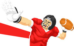 American Football Player Quarterback Throwing Ball. A vector image of a quarterback player of american football games throwing ball . Drawn in cartoon style Stock Photo