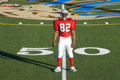 American football player, in red football strip and protective helmet, standing on pitch at 50 yard line, front view, portrait Stock Photos