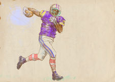 American football player, running. Man. Full-sized (original) hand drawing (useful for live trace converting for the  image - and others). Technique: digital Royalty Free Stock Images