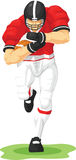American Football Player Running & Holding Ball. A vector image of an american football player running while holding ball . Drawn in cartoon style, this Royalty Free Stock Image
