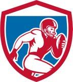 American Football Player Running Shield Retro Stock Image