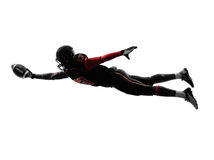 American football player scoring touchdown silhouette. One american football player scoring touchdown in silhouette shadow on white background Royalty Free Stock Photography