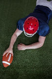 American football player scoring a touchdown Royalty Free Stock Images