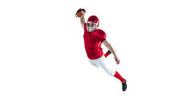 American football player scoring a touchdown. On a white background Royalty Free Stock Photo