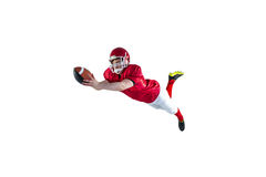 American football player scoring a touchdown. On a white background Stock Photography