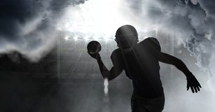 american football player shadow stock photo