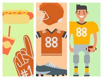American football player and sport game icons vector cartoon style quarterback jumping success usa athlete Royalty Free Stock Images