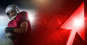 American football player with stadium transition and arrow. Digital composite of American football player with stadium transition and arrow stock illustration